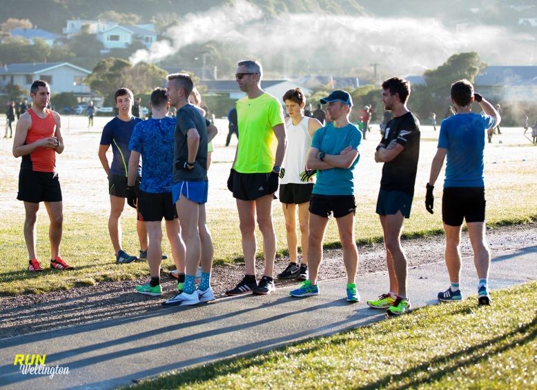 Runners preparing for a Winter morning training session at Karori Park (Field of Dreams) - near Wellington, New Zealand