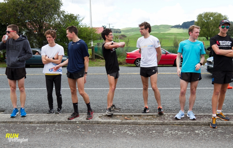 """Wellington Scottish team mates awaiting the arrival of their """"A Team"""" on the last lap"""