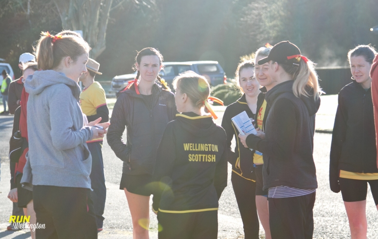 Lindsay having a chat with her Scottish team members before the start